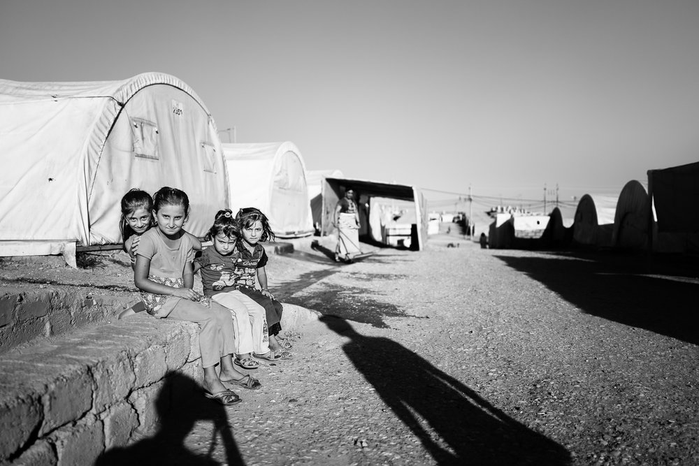 Little girls inside the Essian refugees camp, one of the biggest refugees camp in Iraq.