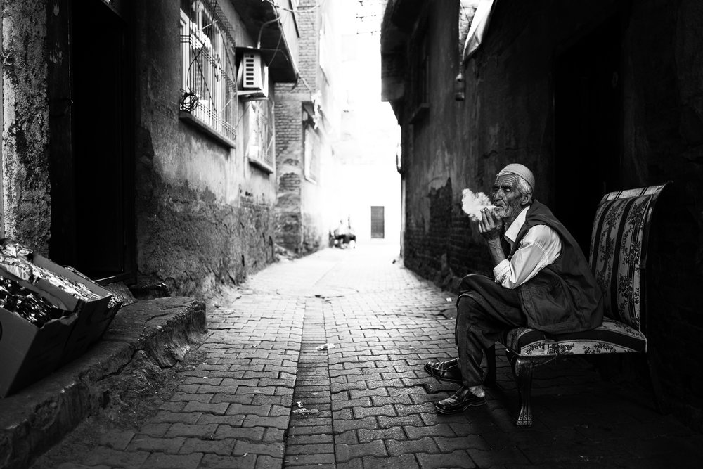 A man and his cigarette in the Diyarbakir alleys.