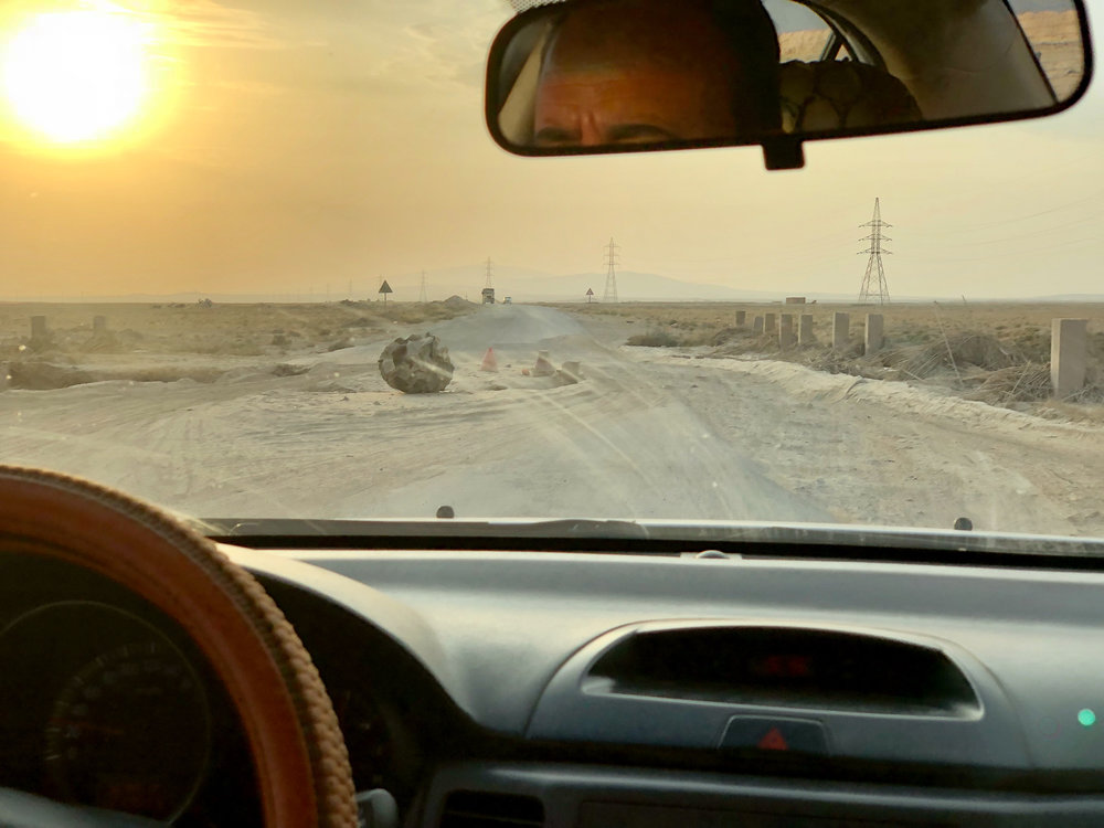On the road to the Syrian border, the street is very damaged by the conflict, every 100/200 meters is missing a piece of road because it was blown up by mines