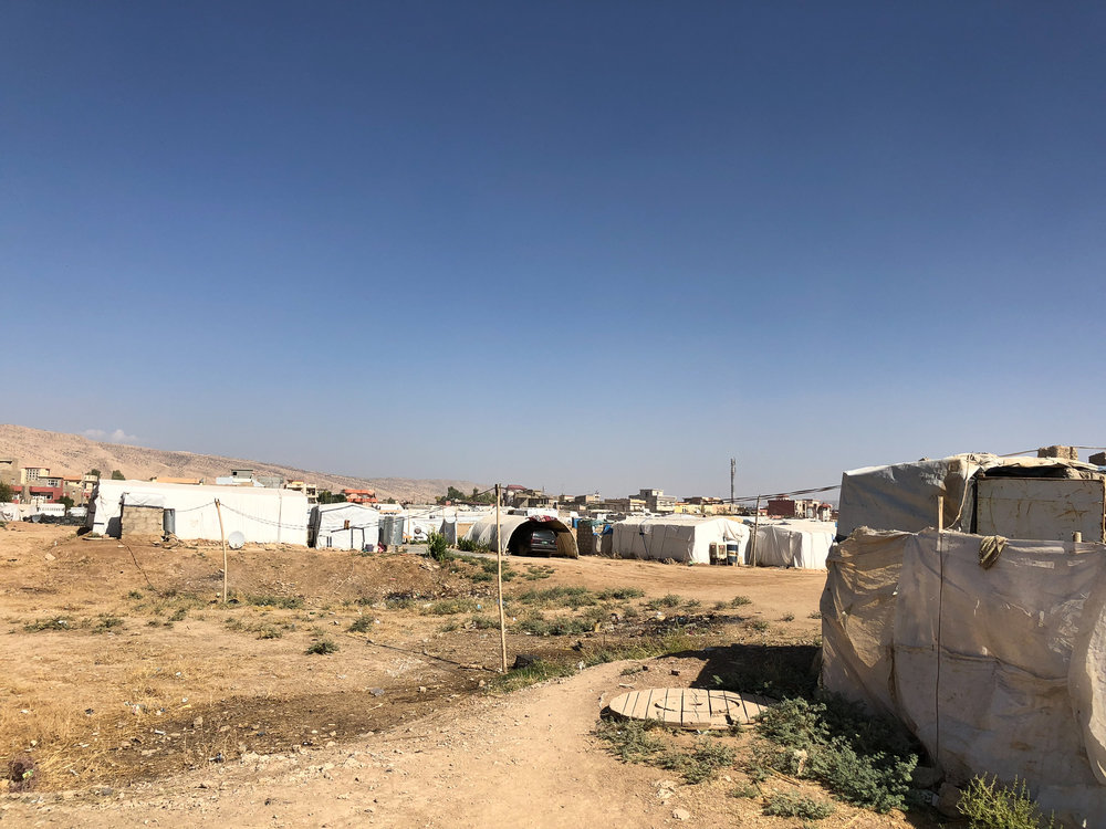 Unofficial refugees camp in the desert outside Dohuk