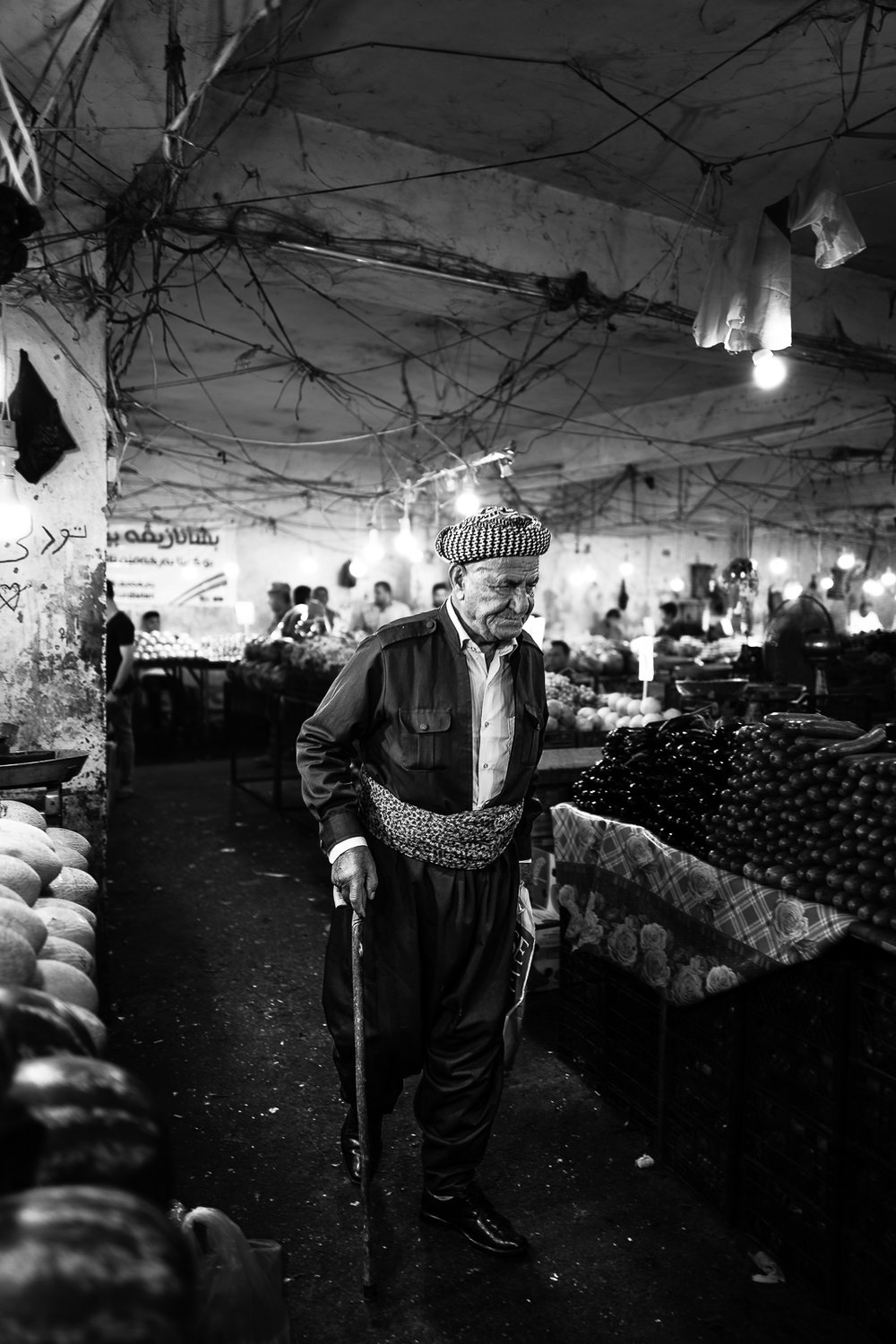 Man inside the vegetables bazaar in Dohuk