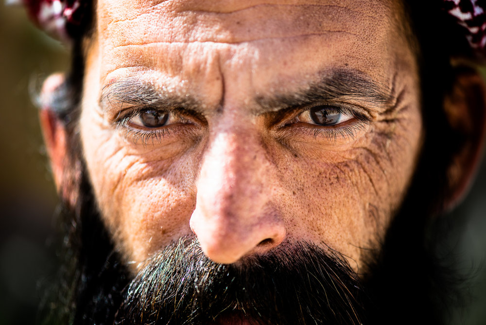 The powerful gaze of a Yazidi warrior who fought against the ISIS during the siege of the Sinjar mountain. Sinjar mount