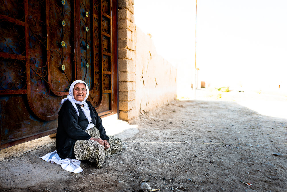 One of the few citizen, a woman with psychic problems, of the destroyed villages under the Sinjar mountain