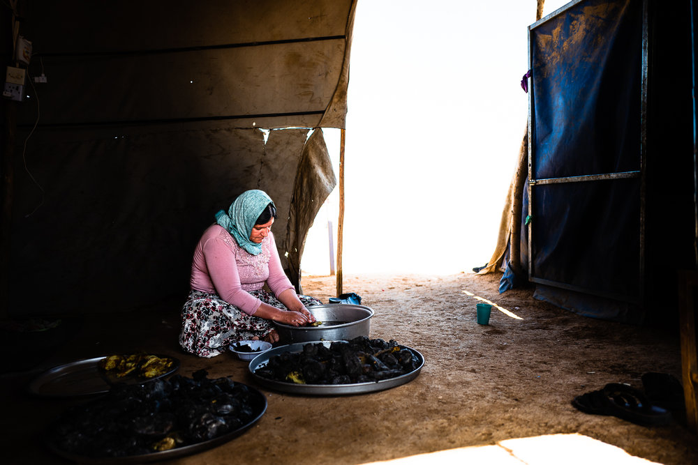 A mother is cleaning some vegetables in a unofficial refugees camp on the border of the street near Douhk
