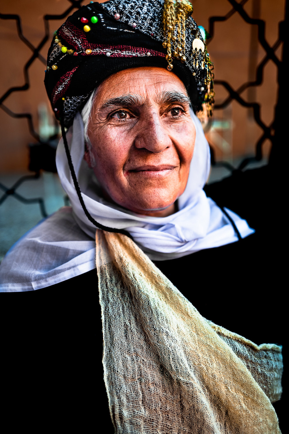 A yazidi woman with typical clothes