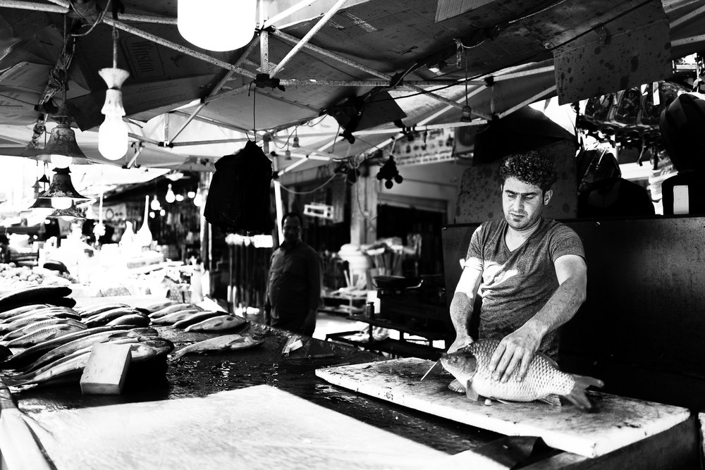 Fish seller in the Erbil bazaar