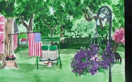 THE BACK YARD  PAINTED BY KATHY STORRIE