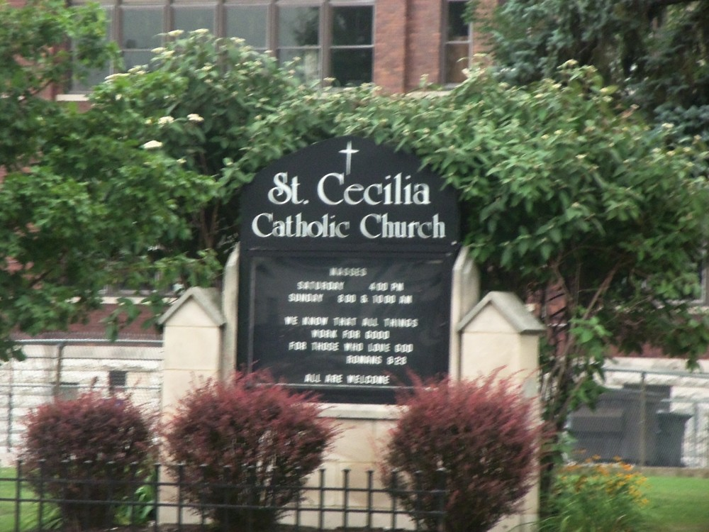 ST. CECILIA CATHOLIC CHURCH SIGN IN OAKLEY    PHOTO BY KATHY STORRIE   7-26-14