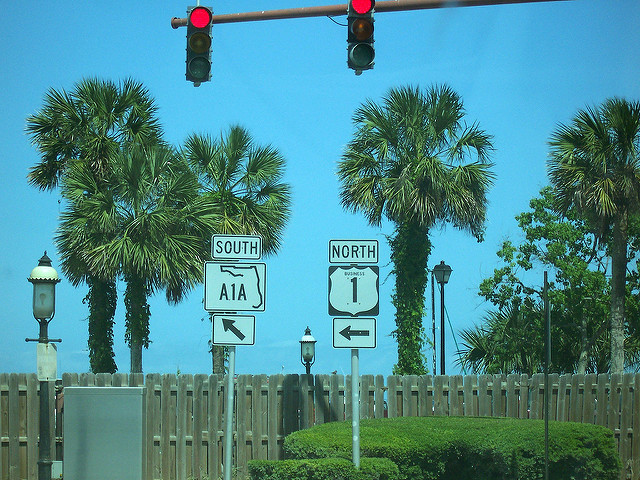 ST.AUGUSTIN ROAD SIGNS A1A & HWY1 BY  JON DAWSON CREATIVE COMMONS FLICKR