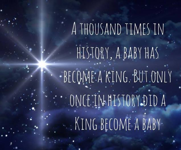 The word left heaven and became flesh and dwelt among us and we beheld his glory as a baby and king