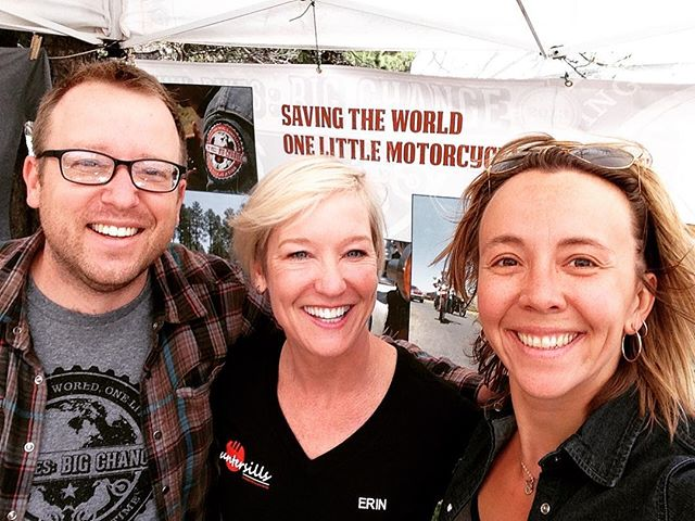 The TinyBikes crew just met @shemotoerin at the @overlandexpo in #FlagstaffAZ #tinybikesbigchange she's the fastest person in the world on a production motorcycle!