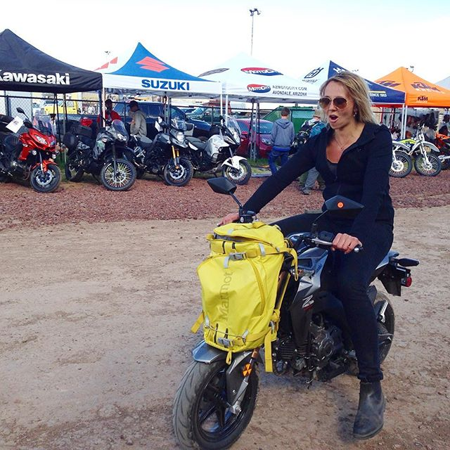 @augusteva at the @overlandexpo sitting on the new @kawasakiusa 125cc slayer #tinybikesbigchange #kwaker #kawasaki #overlandexpo