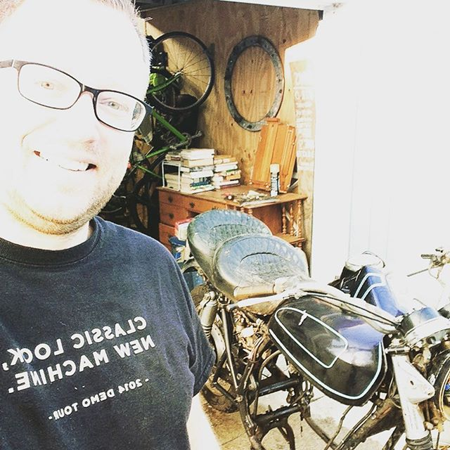 Josh finally got a big bike... It seems to be missing something important though. His CB100 is still his ride of choice! #cb750 #cb100 #tinybikesbigchange @honda_powersports_us