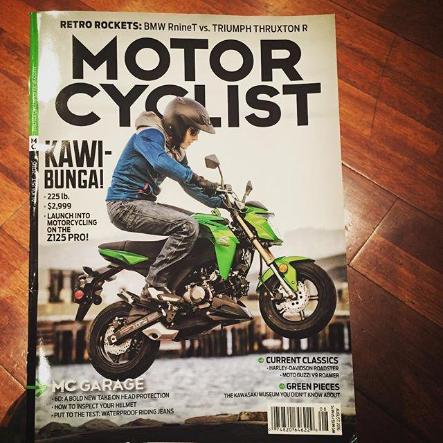 The cool little Kawasaki 125 on the cover of Motorcyclist! Tiny bike revolution in full effect!! #vivalatinys #tinybikesbigchange