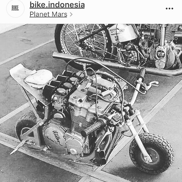 "Our buddy @krashmaster81 shot this over. @bike.indonesia posted this sweet ""tiny bike"" oh my goodness. That looks like exhilaration and death... #tinybikesbigchange"