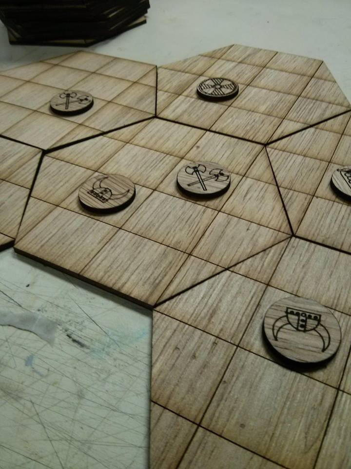 Prototype pieces for a randomly generated board. These were  created using a laser cutter.