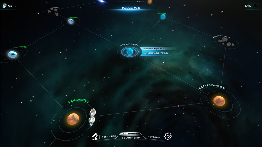 A mid-production screenshot of the space map. I also worked on the pathfinding :)