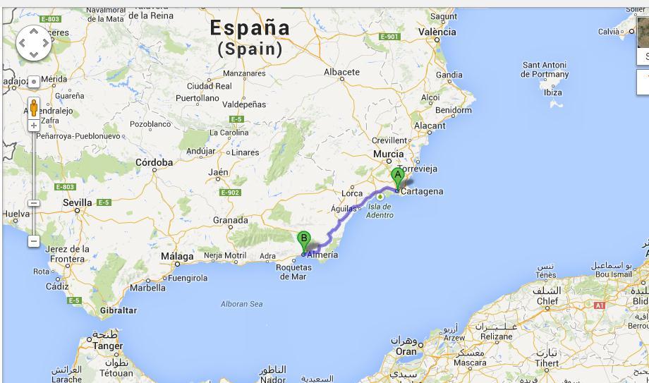 Cartagena en Almeria liggen helemaal in het zuiden van Spanje 2200km enkele reis!