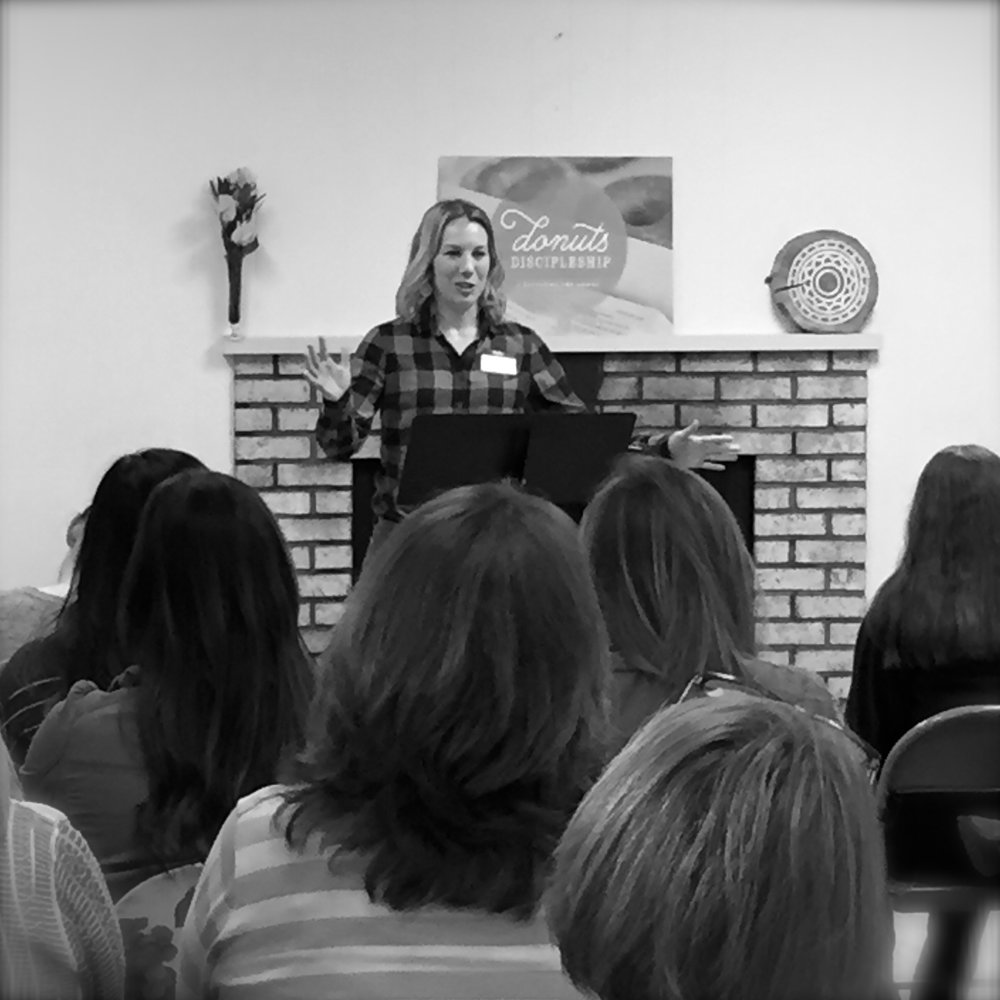 Casey Moore teaching on the power of prayer and praying scripture at October's Donuts and Discipleship women's discipleship gathering.