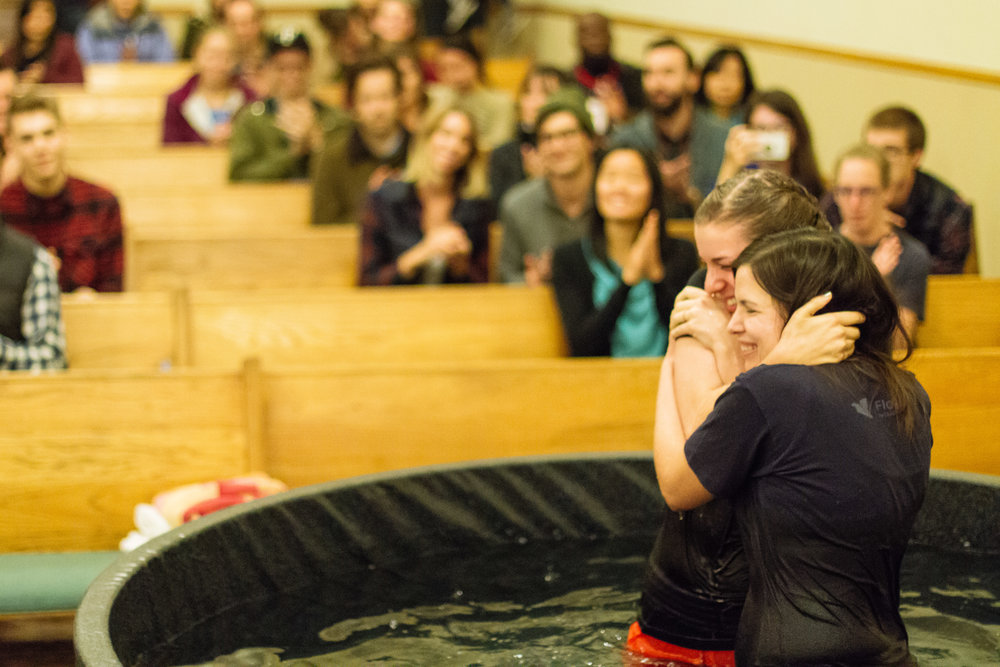 """Pictured above:Gabrielle and Alice embrace after Gabrielle is """"raised in the newness of Christ""""."""