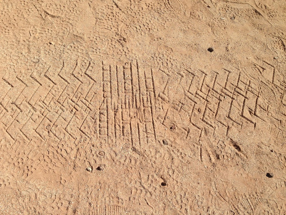 Rover tracks in the JPL Mars Yard
