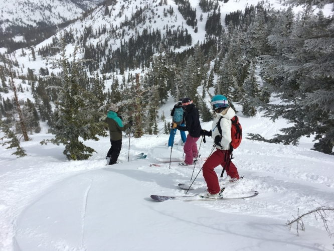 About to drop down and get first tracks in Counterweight Gully at Alpine Meadows, I'm closest to the camera (Photo by @xoxjulianne)