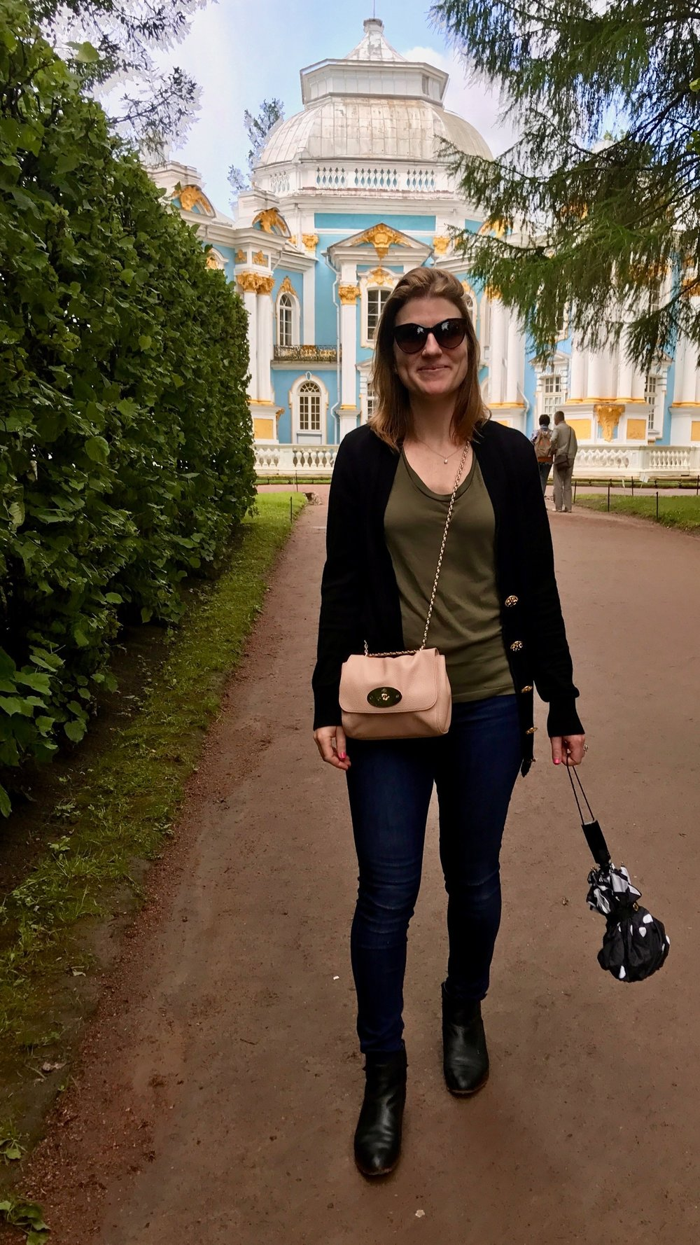 Sporting The Booties at Catherine's Palace outside St. Petersburg...