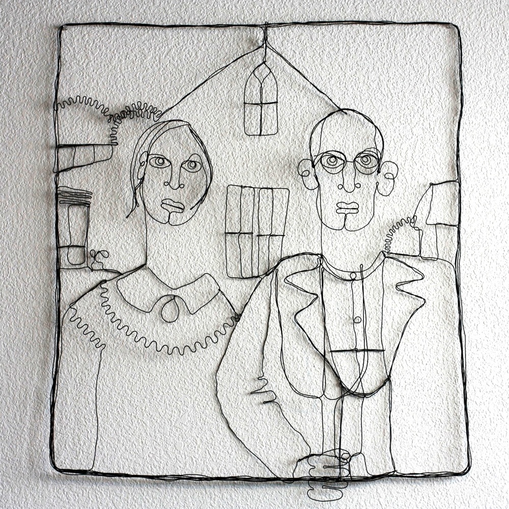 Seth Minor Single Wire Grant Wood Homage  Price Available Upon Request