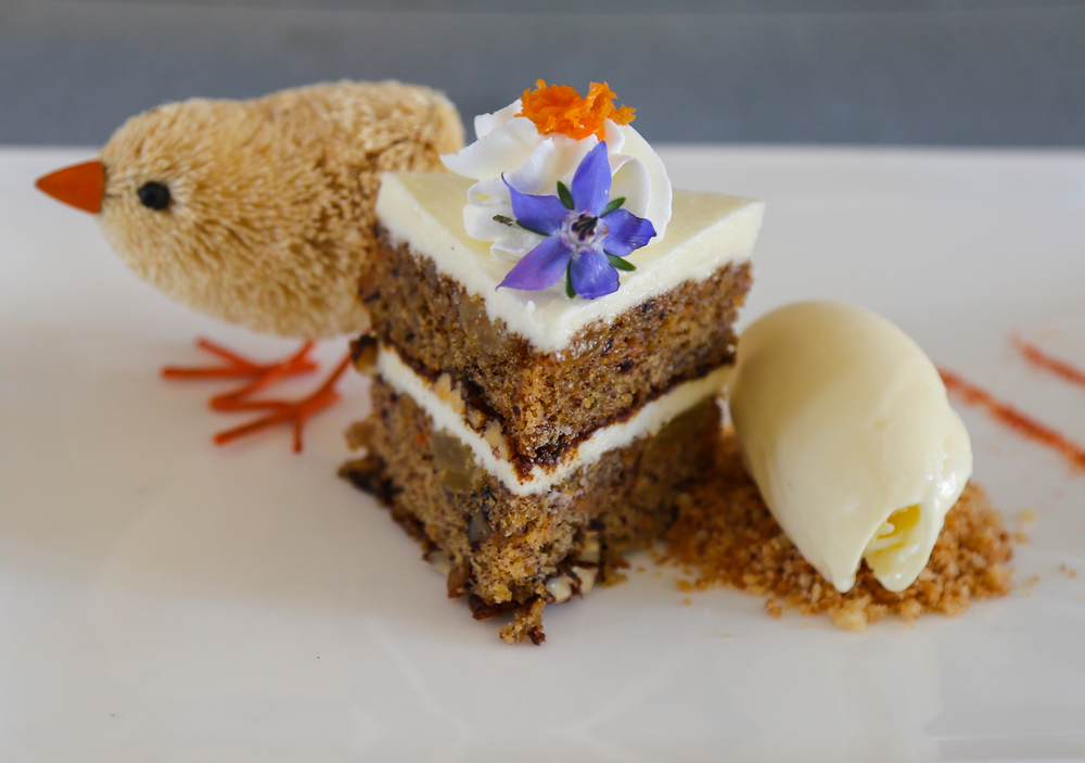 Scott Noll's Easter dessert: Carrot Cake with Toasted Pecan Streusel and Cream Cheese Ice Cream.