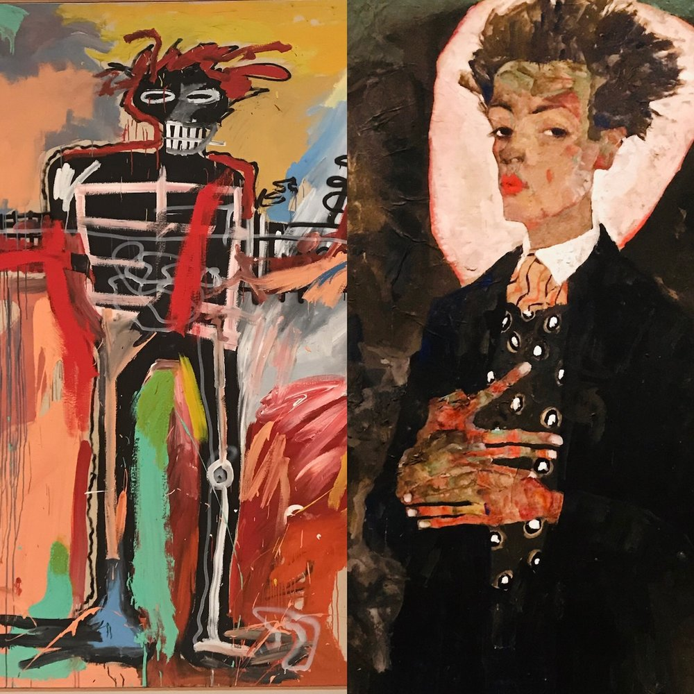 Jean-Michel Basquiat and Egon Schiele powerhouse double exhibit at the  Fondation Louis Vuitton, Paris . Two angry men, with surprisingly at lot in common. Extremely relevant.
