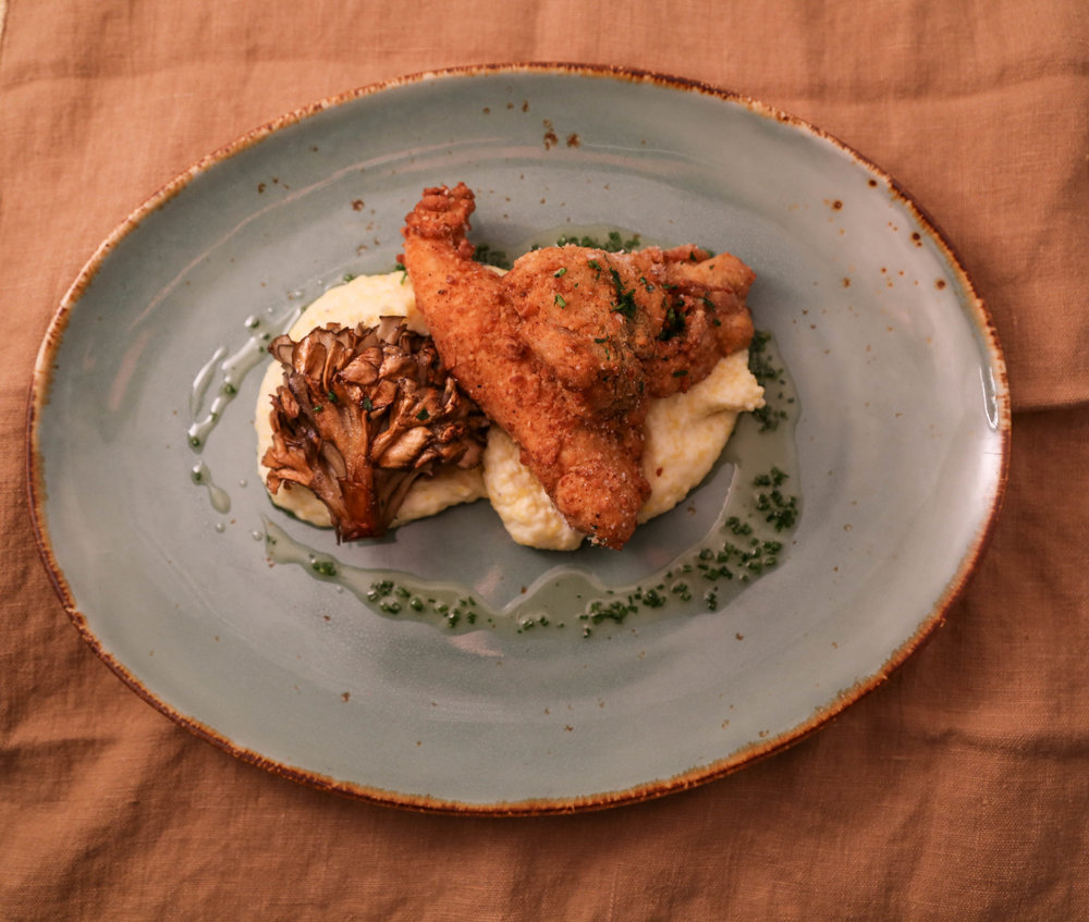 It's de rigueur to have fried chicken somewhere in a serious champagne dinner. Our own gallery bistro Poulet Frite was served on a warm puddle of Polenta with Honey Butter and a 'bouquet' of burnished Gold Tree Mushroom. Sublime with   2002 Cuvée Nicholas François.