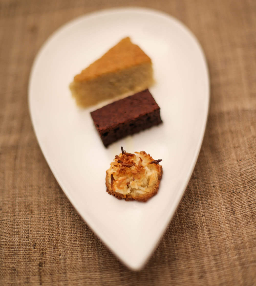 Scott Noll's 'Mignardise' of Brown Butter Financier, Valrhona Brownie, Coconut Macaroon with   Demi Sec