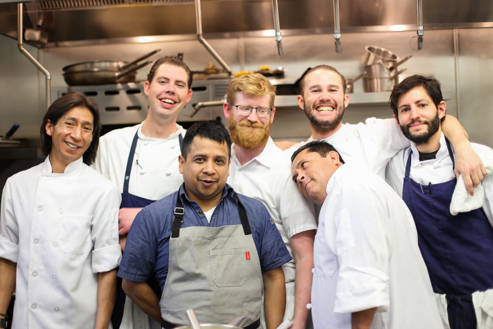 In The Gallery kitchen, L to R: Abel, Andrew, Poncho, Tommy, Manuel, CJ, and Randy. Tommy was getting married the next day (but not to Manny…)
