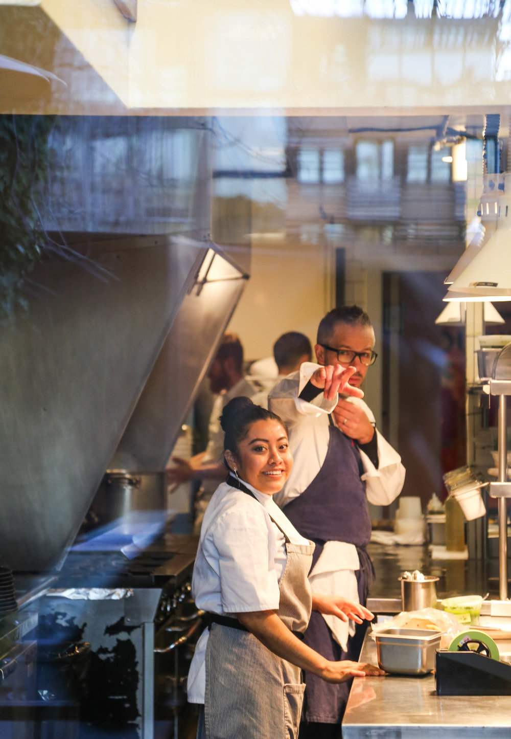Very much in command, Mark in The Barn kitchen, with Jasmin
