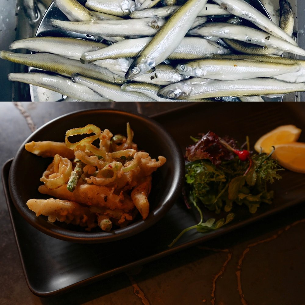In The Gallery: Fritto Misto with smelts rich in Omega 3, veg and citrus. Not shown, the jolly little bucket of dipping aioli that comes with it.