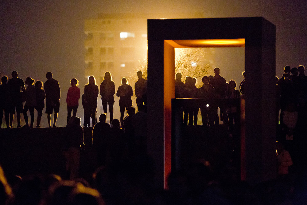 Scenes from the Bonfire Remembrance Ceremony early Friday morning, Nov. 18, 2016, at the Bonfire Memorial site in College Station, Texas.