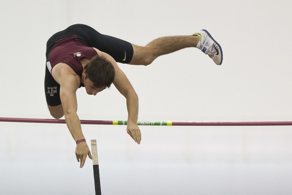 Texas A&M's Audie Wyatt competes in the pole vault Saturday afternoon, Dec. 10, 2016 in College Station, Texas.