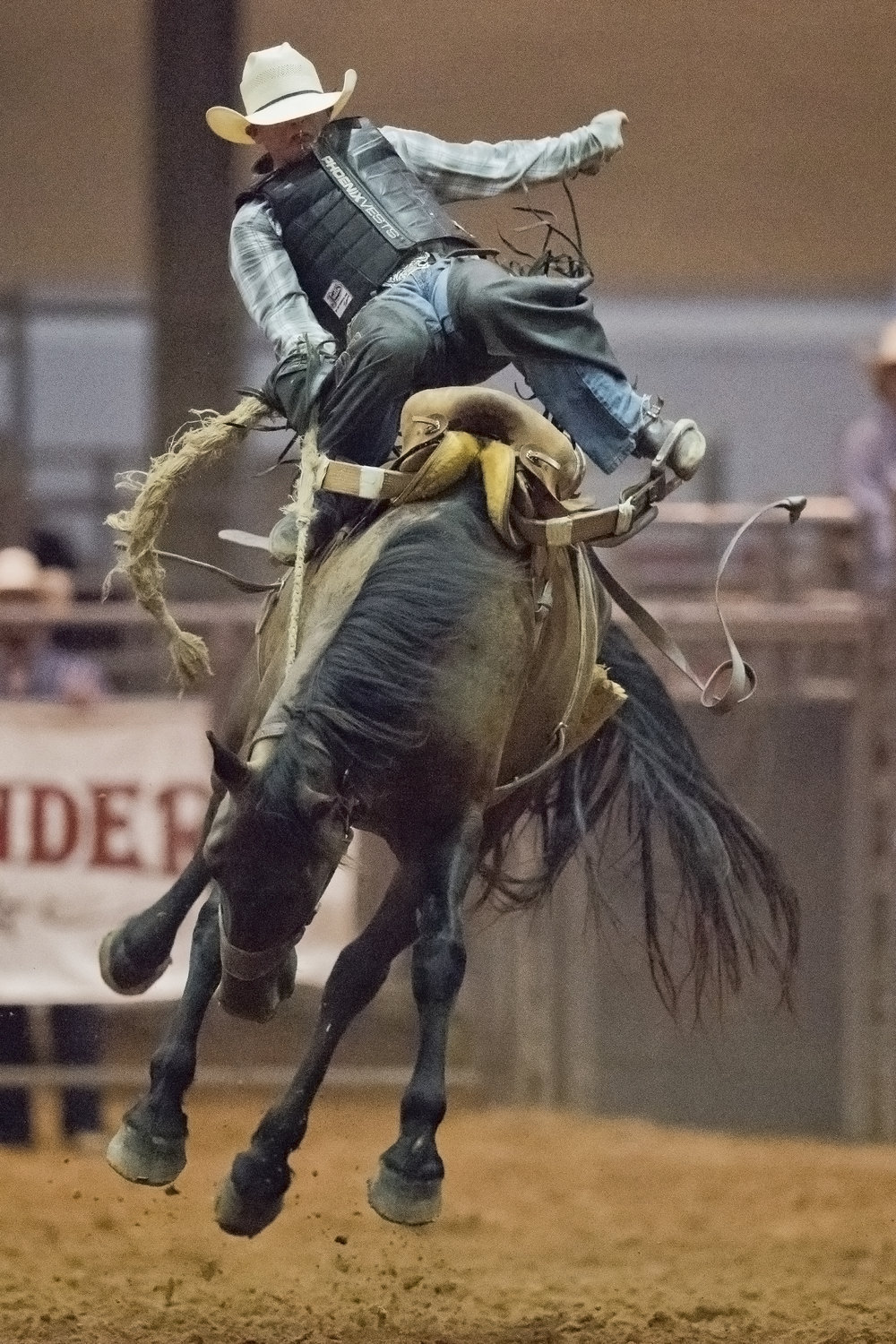 Wasey Hothcock, from Sulphur Springs, Texas, gets bucked off from his horse Saturday night, june 25, 2016, at the 45th Annual PRCA Rodeo at the Brazos County Expo Complex in Bryan, Texas.