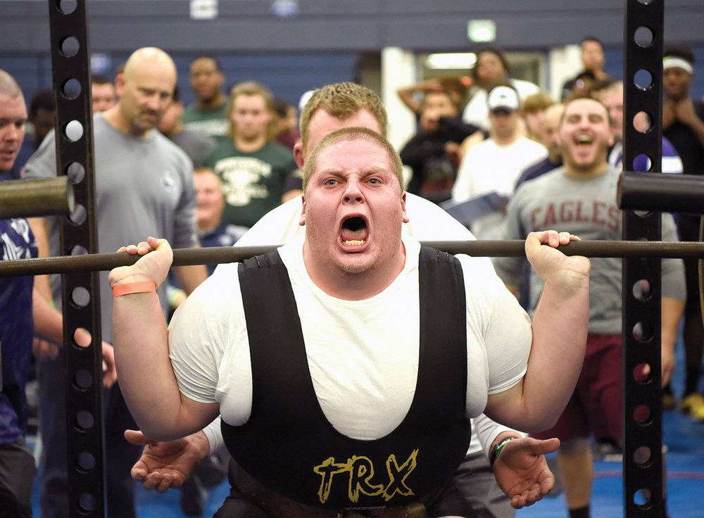 College Station High School's Jordan Seymore has the crowd going wild as he squats to win the Super Heavyweight Class, Saturday morning, Jan. 23, 2016 at the Bryan Viking Powerlifting Meet, at Bryan High School, in Bryan, Texas.