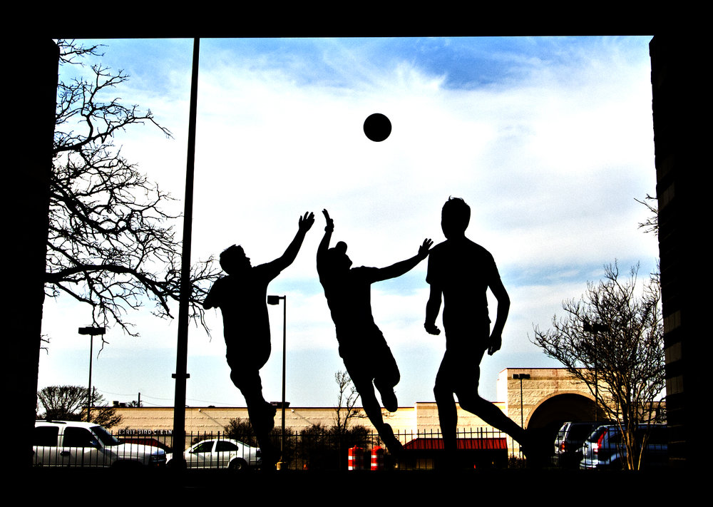 From left, Josh Vancura, Chad Wolaver, and Scott Stuckle play a pick-up game of basketball, Friday afternoon, Feb. 5, 2016, at Lions Park, in College Station, Texas.