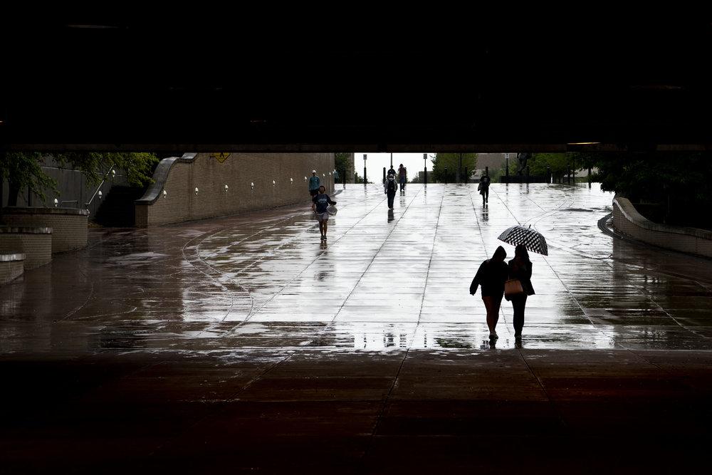 Sisters Share umbrella