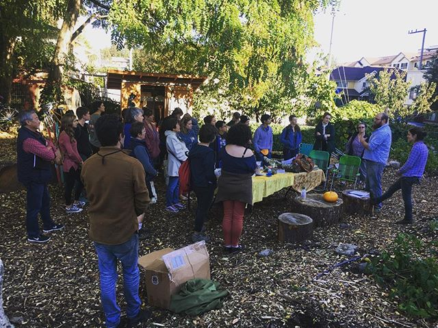 We're learning about Farming and Foraging Edible Fungi and inoculating our forest understory this afternoon with Jake Harris of @stonesoupgardens