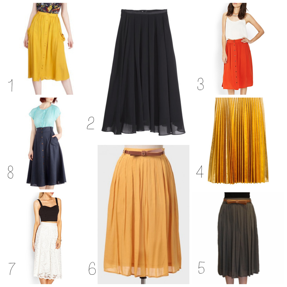 1. ModCloth Just Dandy Skirt in Goldenrod ($44.99) 2. H&M Ankle-length Skirt in Black ($34.95) 3. Forever 21 Button-Front Midi Skirt in Poppy ($17.80) 4. H&M Gold Knee-Length Pleated Skirt ($49.95) 5. Cherry Lane Pleated Midi Skirt ($39.95) 6. Shop Ruche Southern Blossom Skirt in Mustard ($42.99) 7. Forever 21 Classic Lace A-Line Skirt ($27.80) 8. ModCloth Stay Classy Skirt in Navy ($49.99)