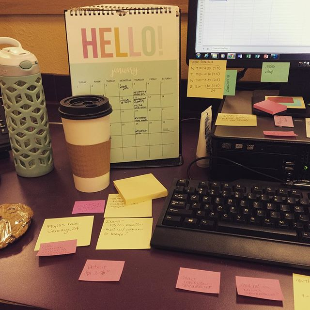 Can you guess my new #favoritecolors ?? #workplace #dailygrind #office #postitsgalore @postit