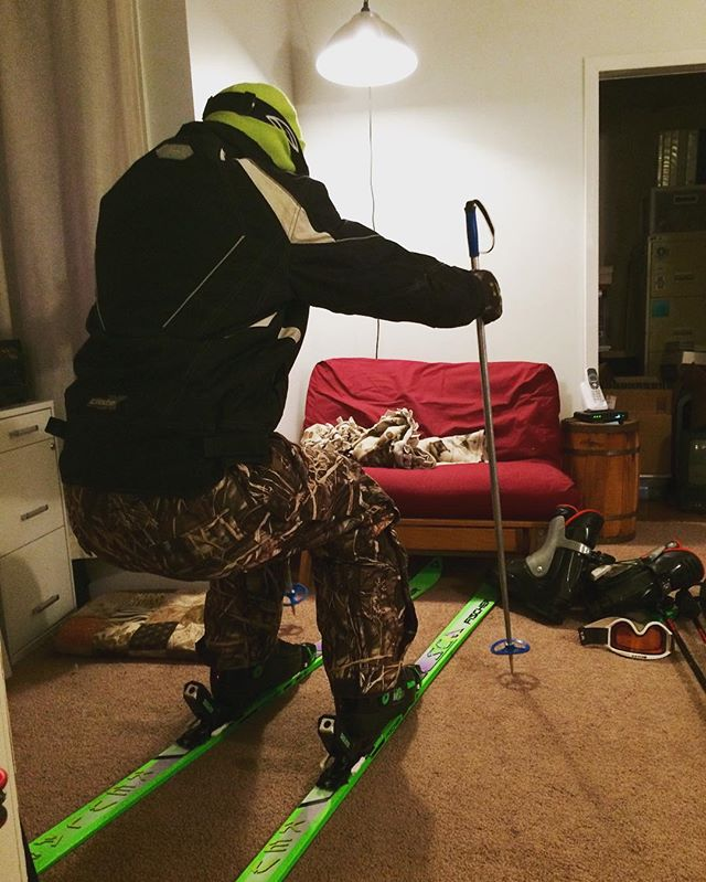 Someone's excited about the used skis and boots he got for $20 total. #discountshopper #skibum