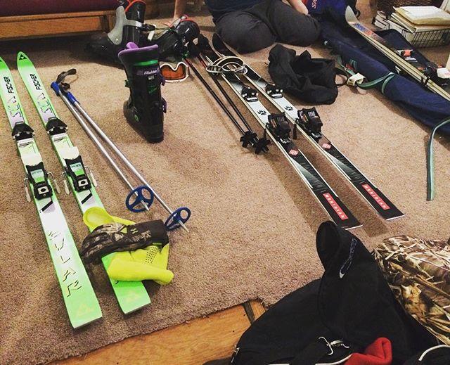 The boys are getting ready for their mini ski trip tomorrow. #onlyinmn #outdoorsmen #skibum