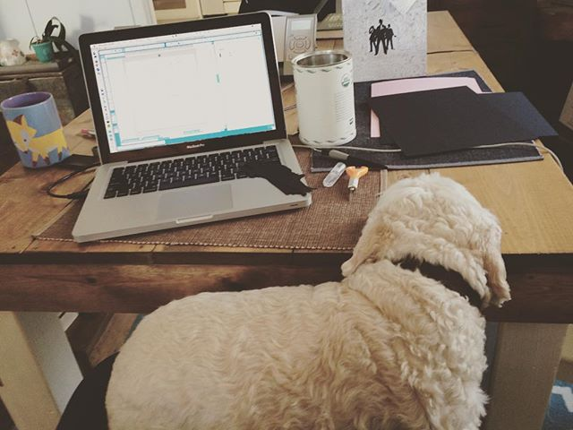 This little guy wanted to sit on my lap as I worked. #dogsofinstgram #cuddles #craftersunite #sundayprojects