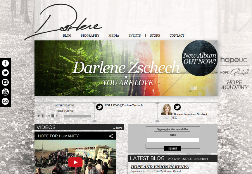 Website design, CD Artwork & branding for Darlene Zschech.