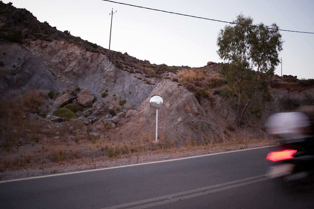 "37°20'01.0""N 26°32'54.1""E ,  22/06/2014, 2057 Road safety mirror, Unnamed road, Patmos, Greece"