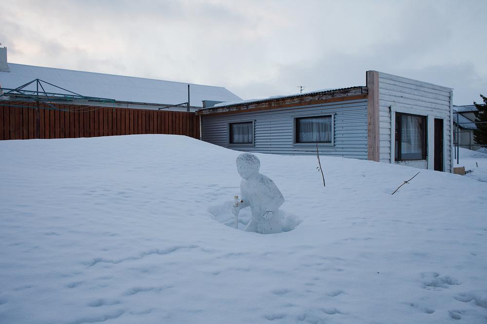 """66°04'18.9""""N 18°39'06.6""""W  , 26/12/2014, 1356 Backyard statue,  Ólafsvegur, Ólafsfjörður, Iceland"""